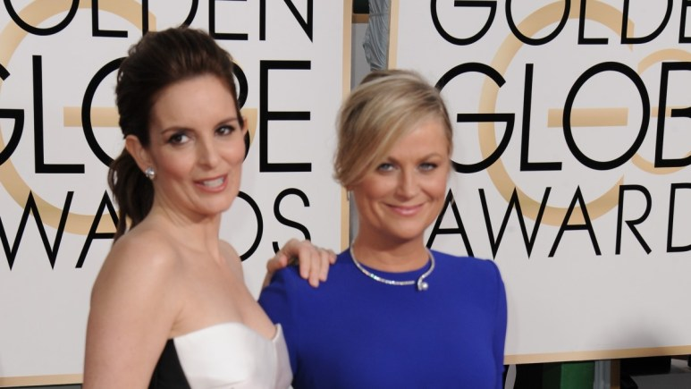 Amy Poehler and Tina Fey at the 72nd Annual Golden Globes Awards.