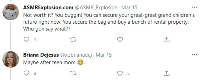 A fan reminds Briana that she could provide financial security to her family