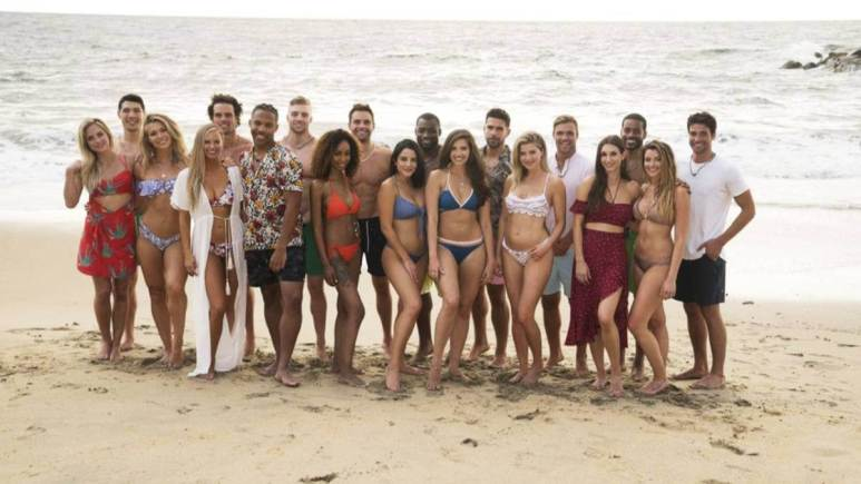 The cast of Bachelor in Paradise Season 5 poses on the beach.