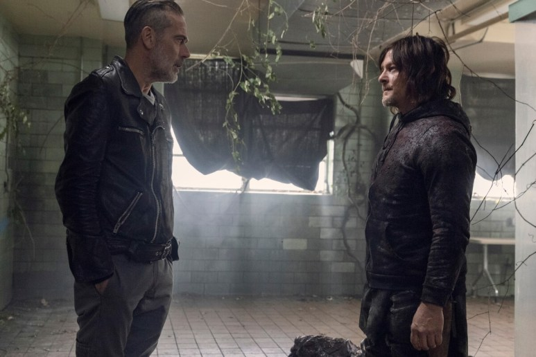 Jeffrey Dean Morgan as Negan and Norman Reedus as Daryl Dixon, as seen in Episode 16 of AMC's The Walking Dead Season 10B