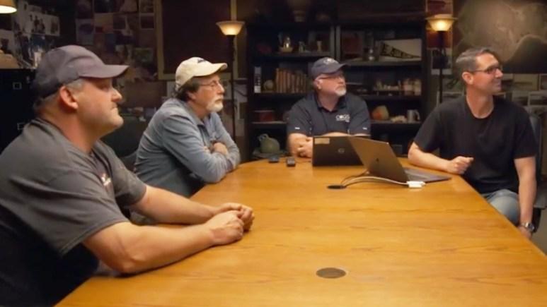 Oak Island team members meet in the War Room