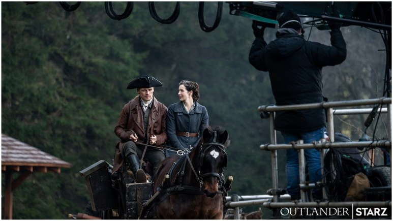 Sam Heughan as Jamie and Caitriona Balfe as Claire, as seen on set for Season 6 of Starz's Outlander