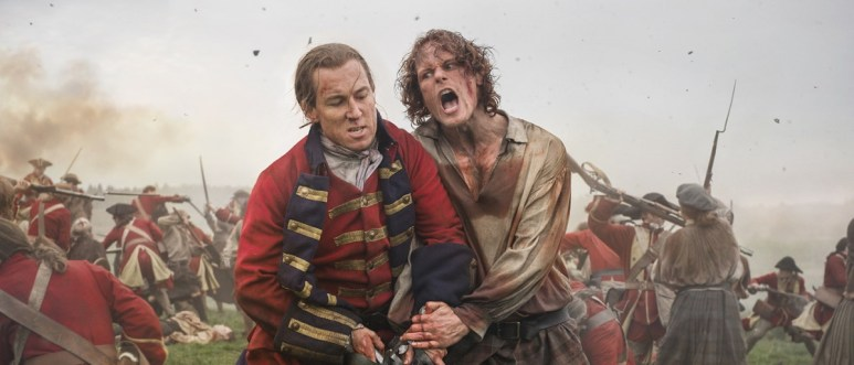 Tobias Menzies as Black Jack Randall and Sam Heughan as Jamie Fraser, as seen in Starz's Outlander