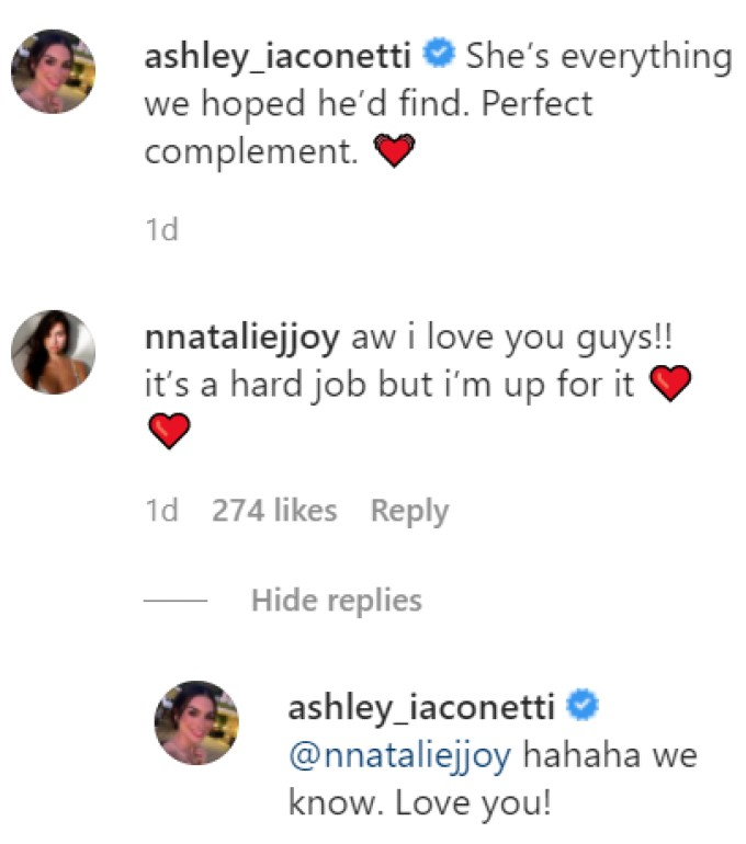 messaging between ashley iaconetti and natalie joy on Instagram.