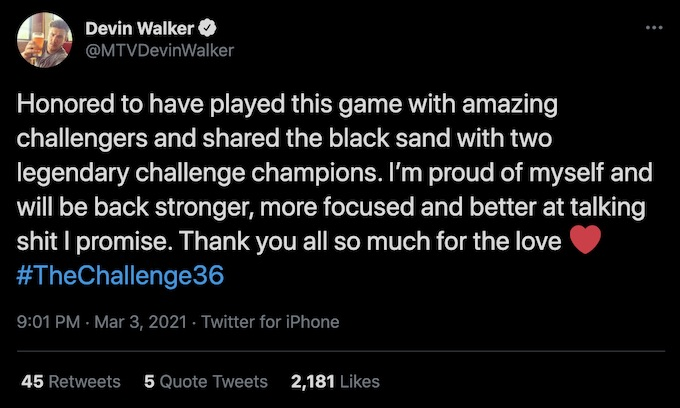 devin walker tweets about the challenge double agents experience