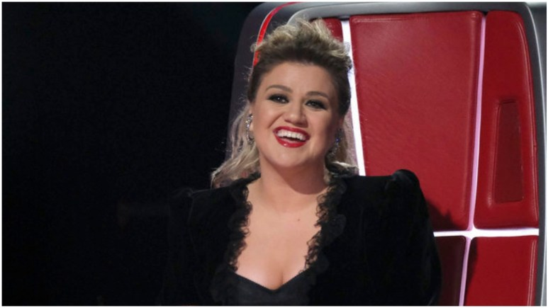 Kelly Clarkson on the set of The Voice.