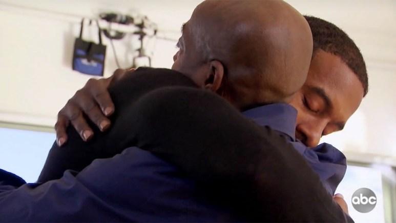 Matt James embraces his dad Manny James