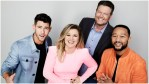 The Voice stars Nick Jonas, Kelly Clarkson, Blake Shelton and John Legend.