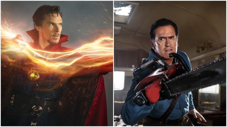 Benedict Cumberbatch as Doctor Strange and Bruce Campbell as Ash in Ash vs. Evil Dead.