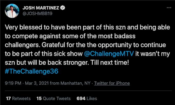 josh martinez tweets after double agents elimination