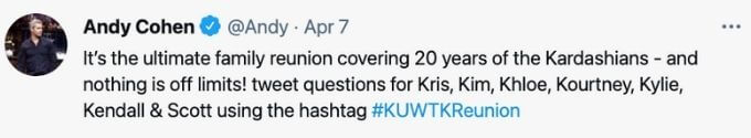 Andy Cohen as fans for KUWTK reunion special questions.