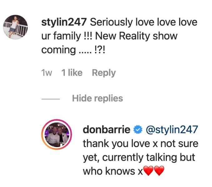 Barrie Drewitt Barlow teases family TV show.