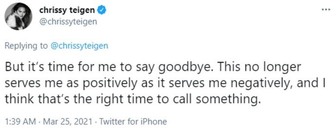 Teigen tweets goodbye