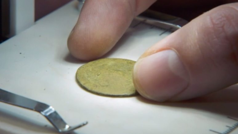 A gold coin found on Oak Island