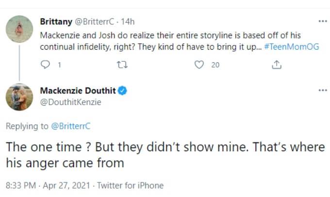 Mackenzie clarifies where Josh's anger came from