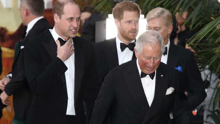 Prince Charles, William, and Harry at a royal event