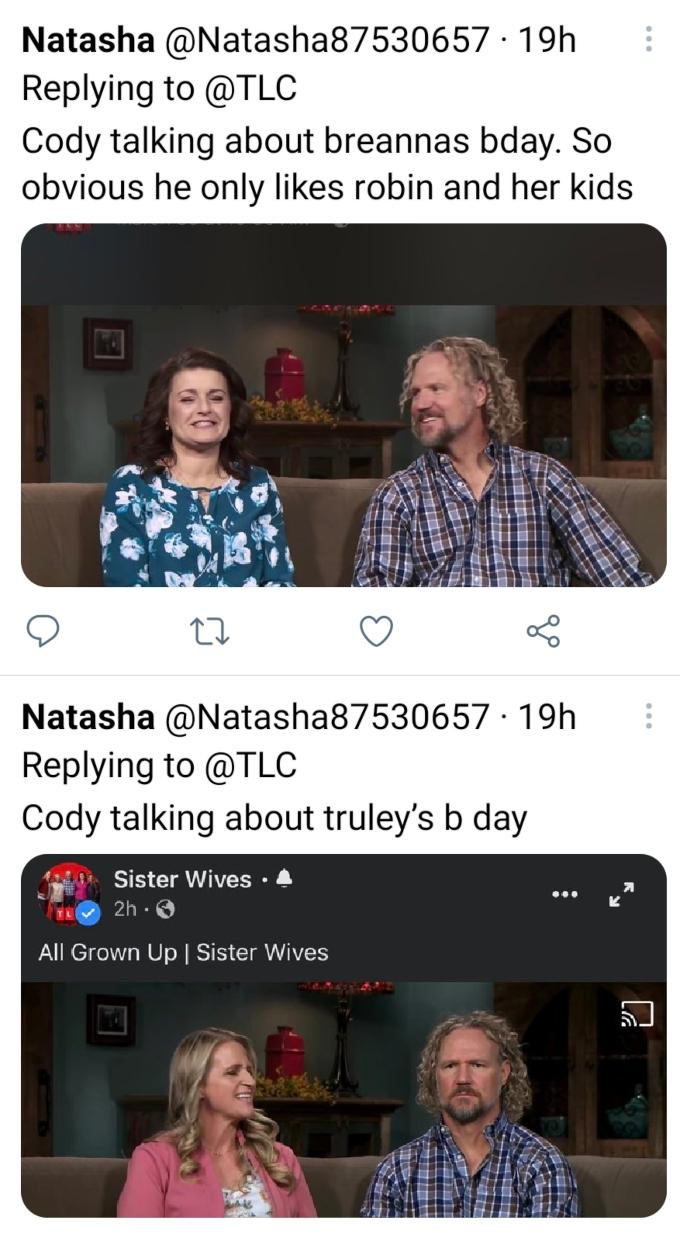 Kody and Christine Brown of Sister Wives on Twitter