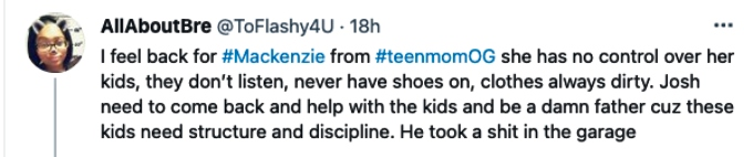 Twitter fan bashes Josh for not being present to help Mackenzie with the kids