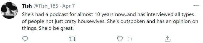 Screenshot of tweet in support of Brandi Glanville.