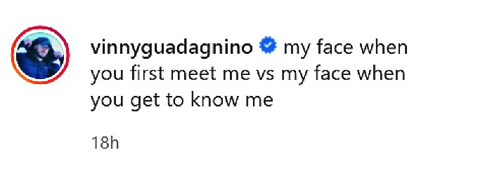 Vinny Guadagnino IG caption