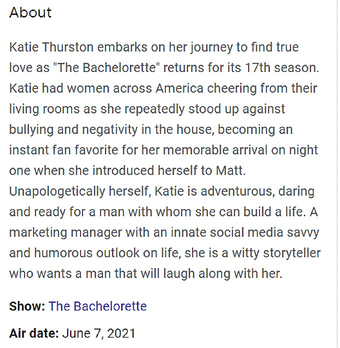 Katie Thurston first episode synopsis