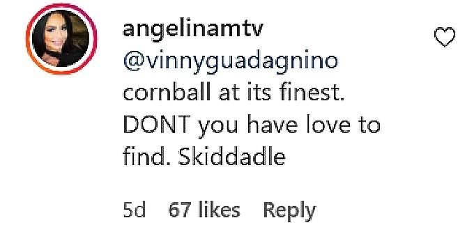 angelina pivarnick IG comment