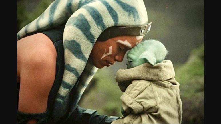 Ashoka with Baby Yoda in The Mandalorian