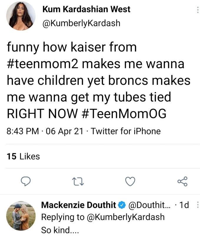 Mackenzie McKee of Teen Mom OG responds on Twitter