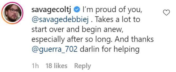screenshot of Colt's comment.