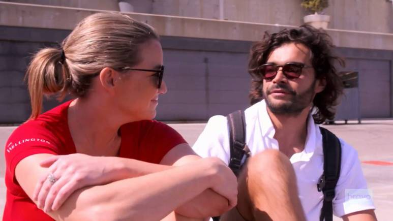 Hannah Ferrier and Chef Kiko film for Below Deck Med
