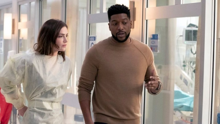 Janet Montgomery and Jocko Sims on the set of New Amsterdam