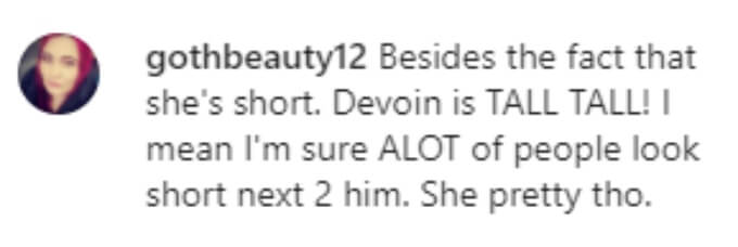 A fan pointed out that Devoin is tall and his girlfriend is short