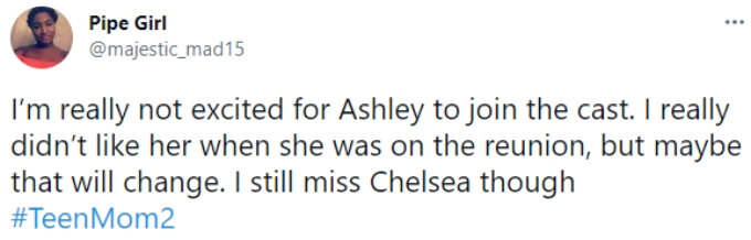 A fan was not excited to have Ashley join the cast