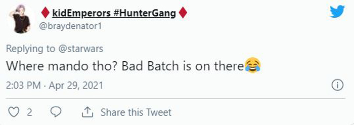 Tweet about The Bad Batch being included on the poster.