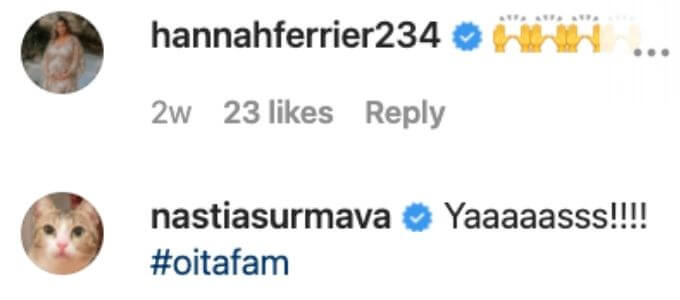 Hannah comments on Daisy's post.