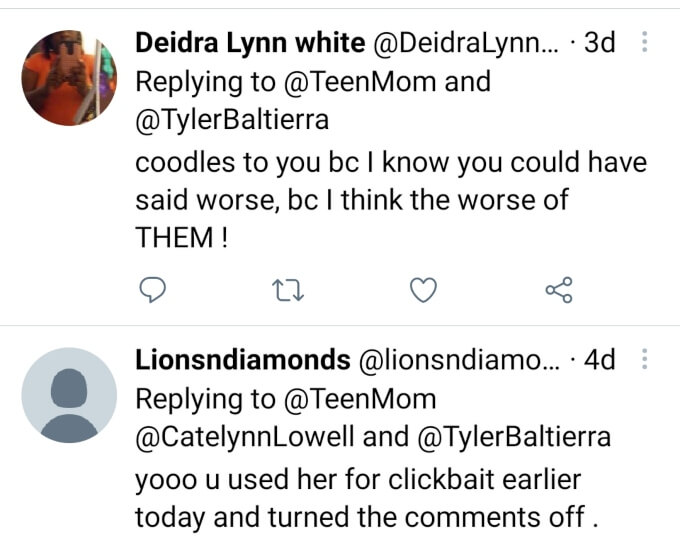 Catelynn and Tyler Baltierra of Teen Mom 2 on Teen Mom's Twitter