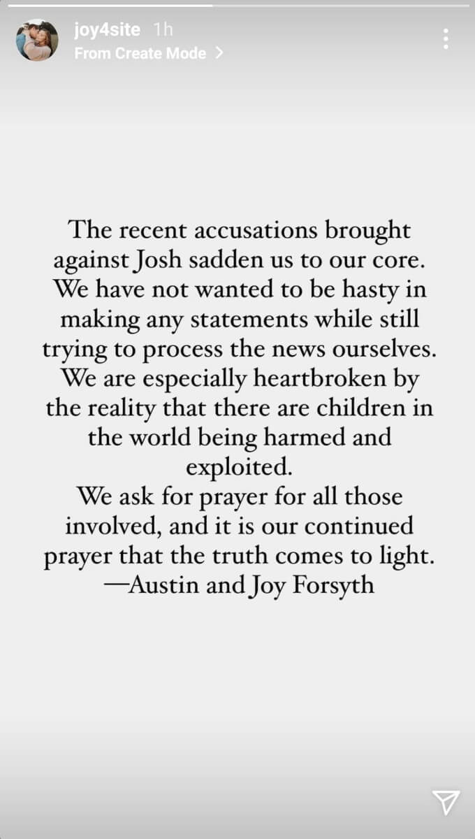 Joy and Austin's statement