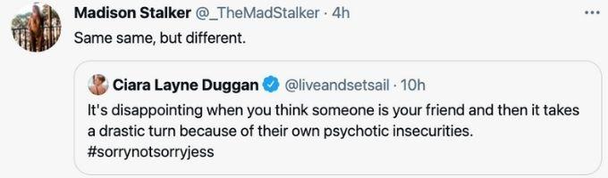 Madison responds to Ciara Tweet
