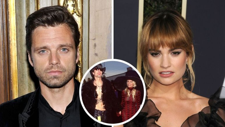 Red carpet images of Sebastian Stan and Lily James.