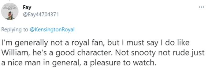 "Twitter user praises William's ""character"""