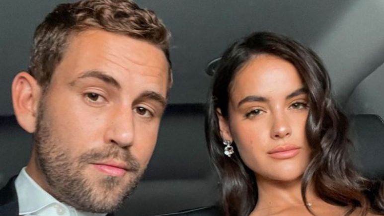 Nick Viall and Natalie Joy pose together in a car