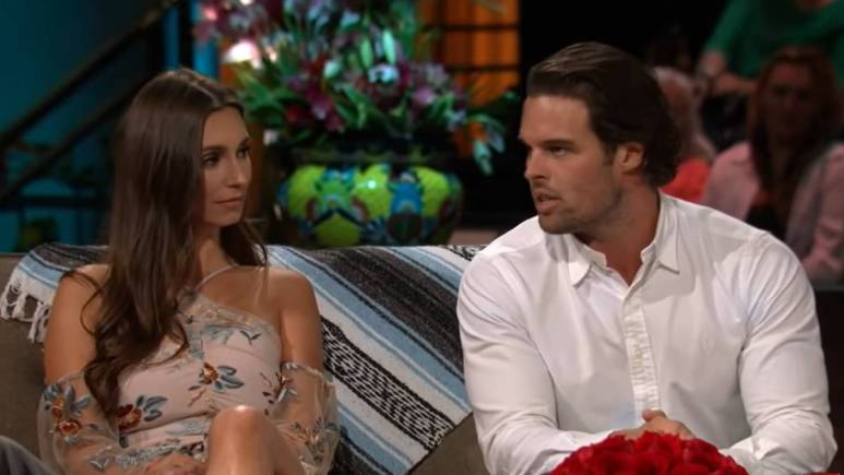 Astrid Loch and Kevin Wendt film for the Bachelor in Paradise reunion