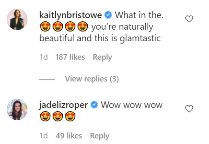 Comments on Cassie Randolph's Instagram post.