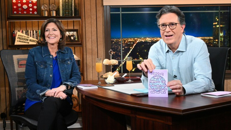 Stephen Colbert and wife Evie Colbert as his Mother's Day guest