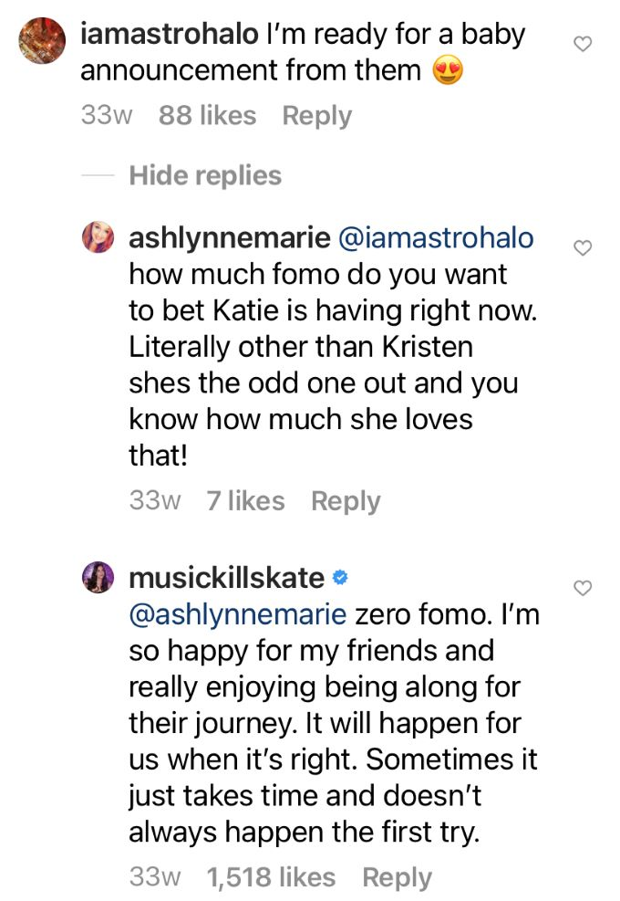 comment about Katie having FOMO.