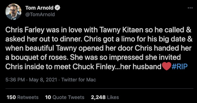 tom arnold tweets about tawny kitaen