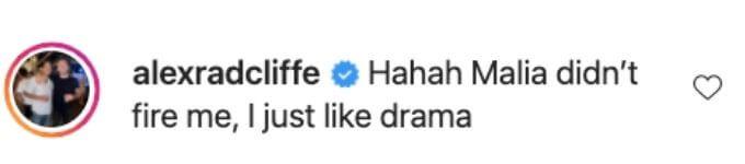 Alex response to firing rumors