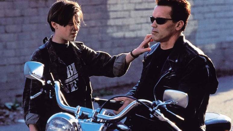 Arnold Schwarzenegger and Edward Furlong in Terminator 2