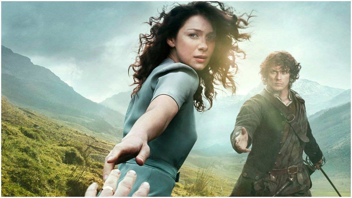 Promotional poster for Season 1 of Starz's Outlander, featuring Caitriona Balfe as Claire and Sam Heughan as Jamie Fraser