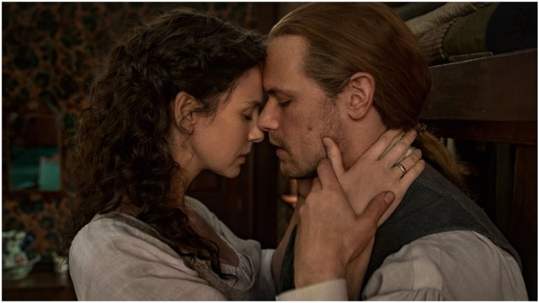 Caitriona Balfe as Claire and Sam Heughan as Jamie Fraser, as seen in Season 6 of Starz's Outlander